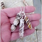 Zebra Jasper Pendant Necklace, Spiral Wrapped Zebra Jasper Necklace Pendant, Silver Single Terminated Wand