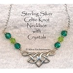 Sterling Silver Celtic Necklace with Emerald and Peridot Crystals