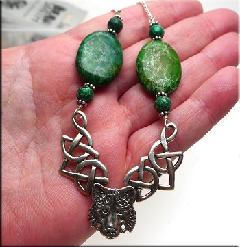 Celtic Wolf Necklace with Green Sea Sediment Jasper, Solid Sterling Silver