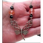 SOLD - Celtic Dragonfly Necklace with Faceted Cherry Quartz and Black Helix Crystals in Solid Sterling Silver