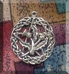 Sterling Silver Celtic Thistle Pentacle Pendant