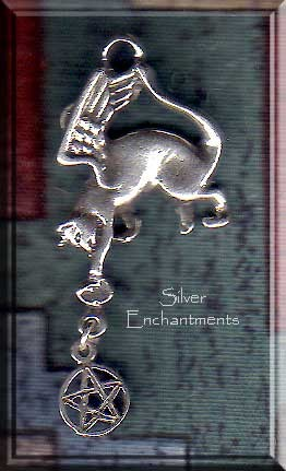 Sterling Silver Angel Cat with Pentacle