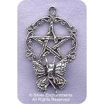 Sterling Silver Victorian Fairy Pentacle Pendant, Fairy Pentagram Jewelry