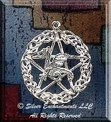 Sterling Silver Celtic Dragon Pentacle Pendant