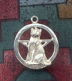 Sterling Silver Cat Pentacle Pendant