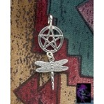 Sterling Silver Dragonfly Pentacle Necklace, Pentacle with Dangling Dragonfly Pendant