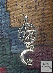 Sterling Silver Dangling Star Moon Pentacle Pendant
