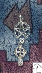 Sterling Silver Pentacle Pendant with Dangling Celtic Cross - Celtic Pagan Jewelry