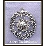 Sterling Silver Celtic Sun Pentacle Pendant, Celestial Pagan Jewelry