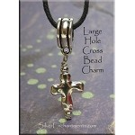 Silver Beaded Cross Large Hole Dangle - Fits All European Add a Bead Jewelry