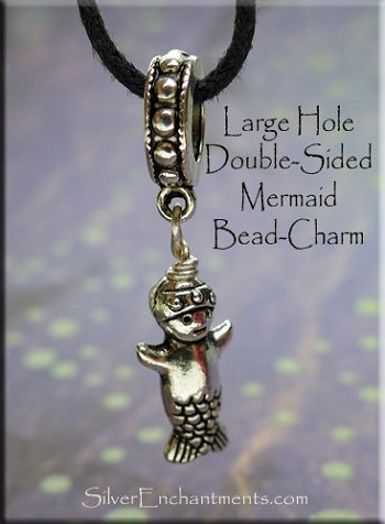 Mermaid Large Hole Bracelet Charm or Necklace Pendant - Fits All European Add a Bead Jewelry