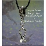 Hope Ribbon Large Hole Bracelet Charm or Necklace Pendant