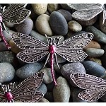 Dragonfly Jewelry Centerpiece with Garnet Ruby Patina