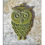 Owl Pendant, Antique Brass with Golden Olive Patina