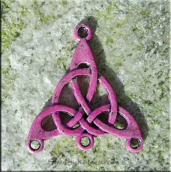 Celtic Jewelry Finding, Triquetra Knot, Amethyst Magenta Purple Patina
