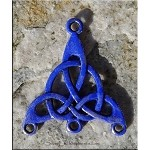 Celtic Jewelry Finding Triquetra Knot with Cobalt Sapphire Blue Patina