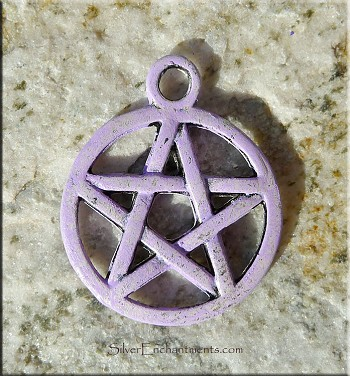 SOLDOUT - Purple Pentacle Charm, Pentagram Charm with Lavender Patina, Pagan Jewelry