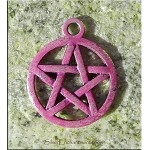 Purple Pentacle Charm, Pentagram with Violet Amethyst Patina, Pagan Wiccan
