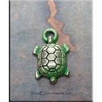 Small Turtle Charm, Jade Patina