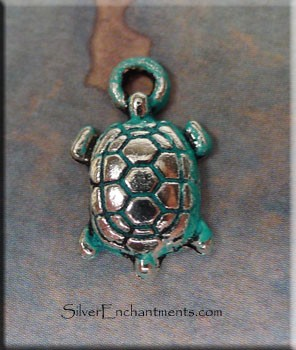 Small Turtle Charm, Verdigris Patina
