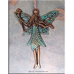 SOLDOUT - Large Copper Nature Fairy Pendant, Verdigris Patina