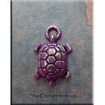 Small Turtle Charm with Purple Patina