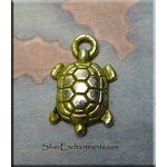 Small Turtle Charm, Olive Moss Patina