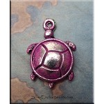 Turtle Charm with Fuchsia Pink Patina