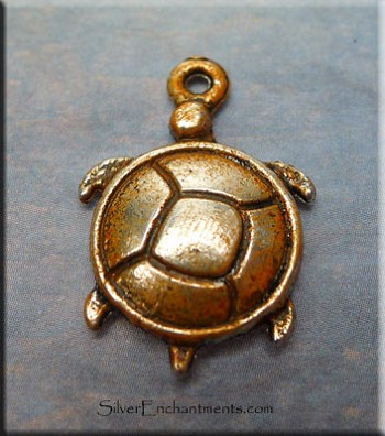 Turtle Charm, Copper Rust Patina