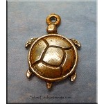 Silver Turtle Charm with Copper Rust Patina