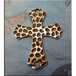 SOLDOUT - Hammered Link Cross Pendant with Copper Rust Patina