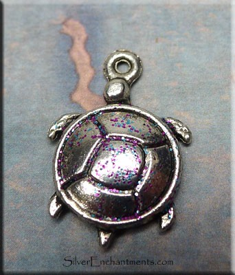Turtle Charm, Fairy Kisses Patina