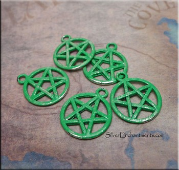 Pentacle Charm - Jade Patina - Sold by Piece