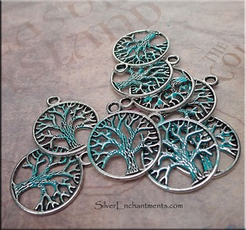 Tree of Life Charm, Verdigris Patina