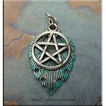 Turquoise Pentacle Necklace, Fancy Pentacle Pendant with Verdigris Patina, 2-piece Pendant, Pagan Jewelry
