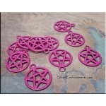 Pink Pentacle Charm, Pentagram Jewelry with Hot Pink Patina