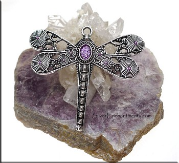 SOLDOUT - Large Ornate Dragonfly Pendant with Purple Shimmer Patina