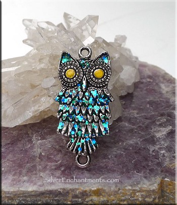 SOLDOUT - Fantasy Owl Jewelry Connector Pendant, Fairyland Patina