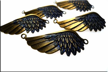Angel Wing Centerpiece, Bronze w Midnight Blue Metallic Patina