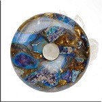 Blue Sea Sediment Jasper and Bronzite Donut Pendant, 50mm