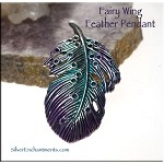 Fairy Wing, Feather Pendant, Teal and Purple Patina