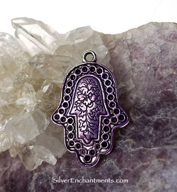 Hamsa Pendant with Purple Patina
