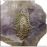 Ornate Silver Hamsa Pendant with Yellow Shimmer Patina
