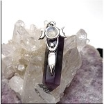 ZSOLDOUT - Amethyst Triple Moon Goddess with Rainbow Moonstone Pendant