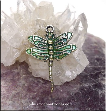 SOLDOUT - Dragonfly Charm with Peridot Shimmer Patina