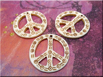 Carved Bone Peace Sign Pendant