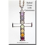 Silver Cross Pendant with Chakra Gemstones