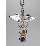 Angel Wing Pendant with Chakra Gemstones