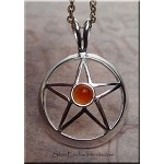 Silver Pentacle with Carnelian
