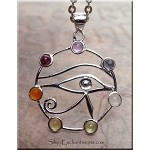 ZSOLDOUT - Eye of Horus with Gemstones, Eye of Ra Necklace